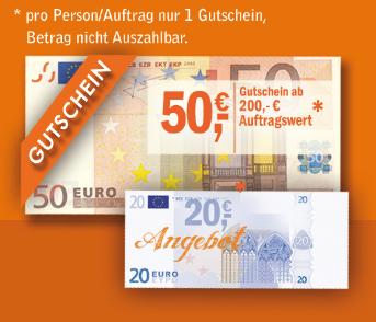 Wir bieten Ihnen bis zum 31.01.2017 bis zu 50,- € Gutschein auf alle unsere Dienstleistungen (50,- € Gutschein ab 200,- € Auftragswert oder 20,- € Gutschein ab 100,- € Auftragswert)*.